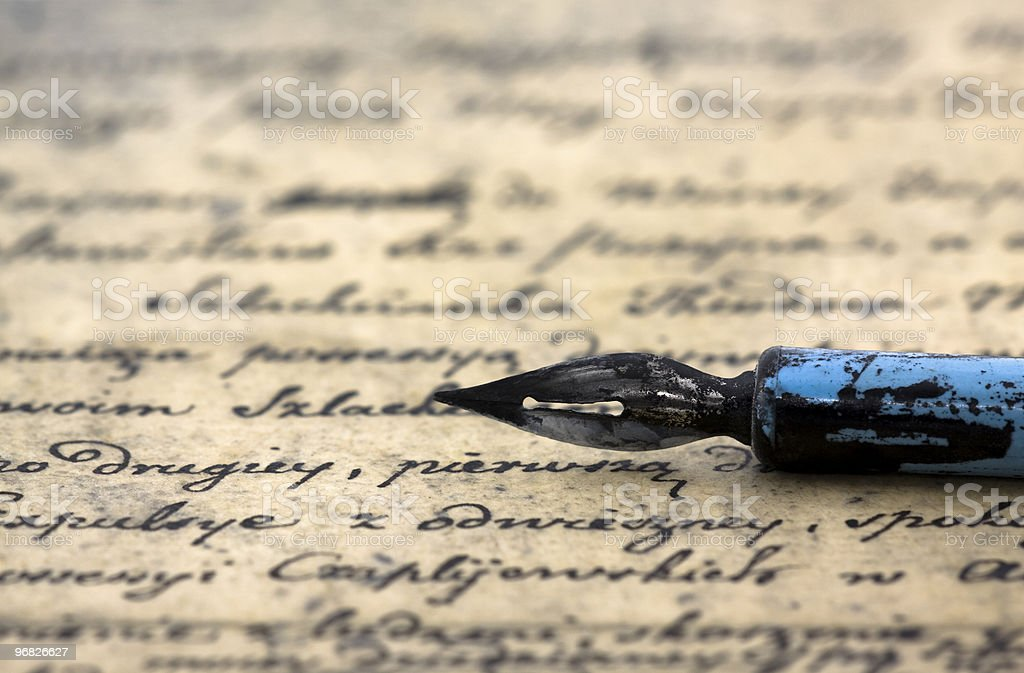 Ancient letter and pen stock photo