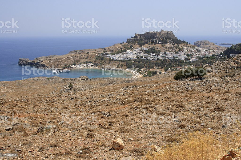 Ancient Lindos on Rhodes stock photo