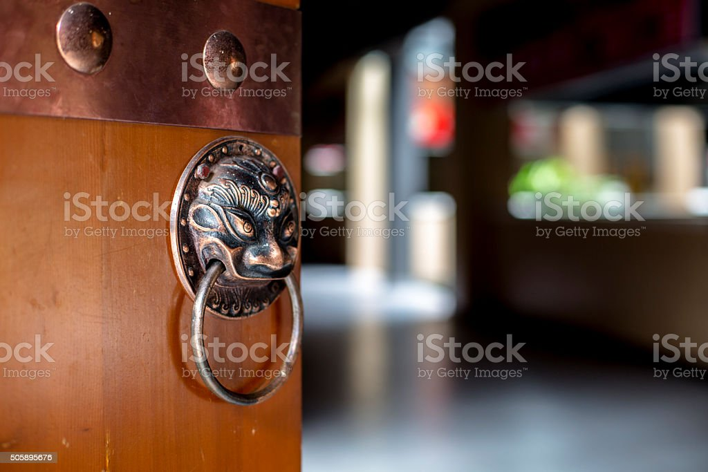 ancient lion knocker on wooden door stock photo