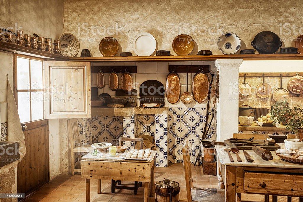 Ancient majorcan kitchen stock photo