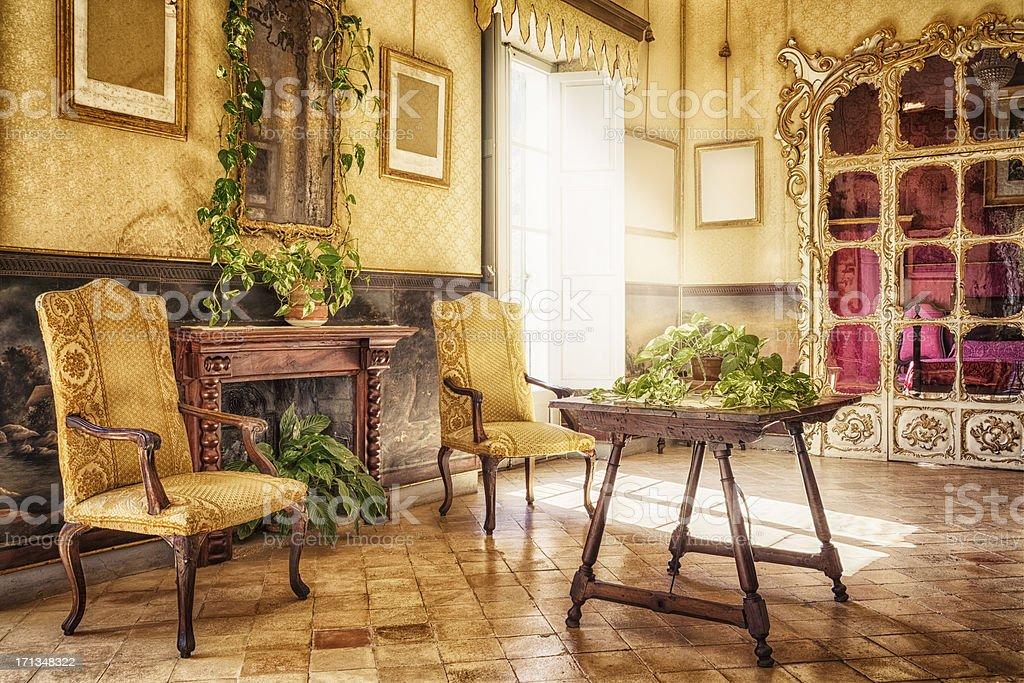 Ancient majorcan living room / Alfàbia - Sala de l'Alcova stock photo