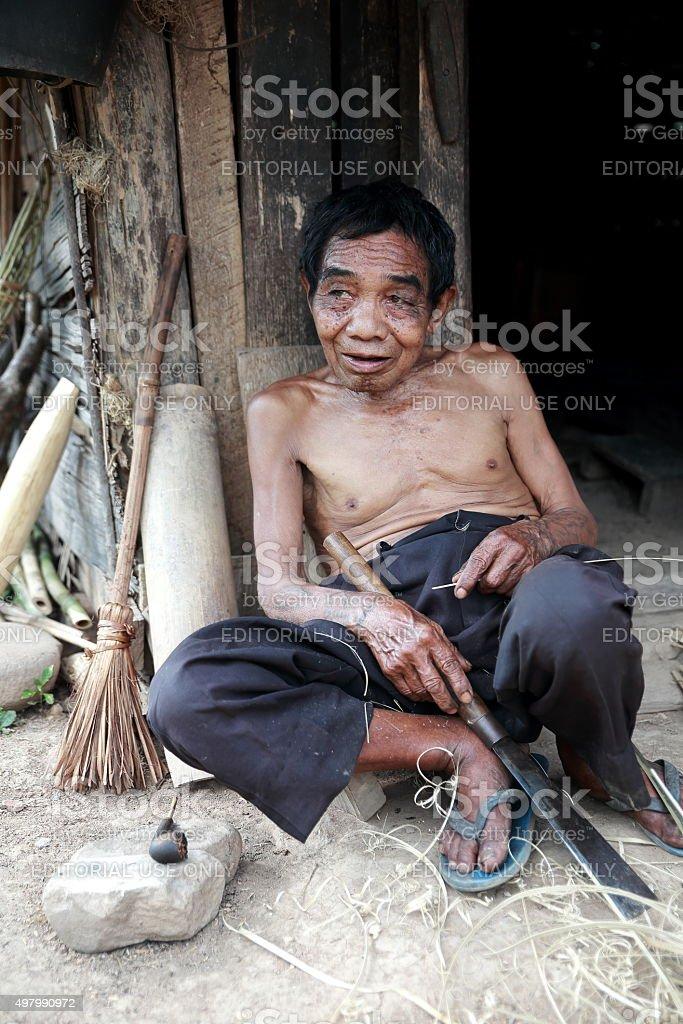 Ancient man-Luang Namtha-Laos stock photo