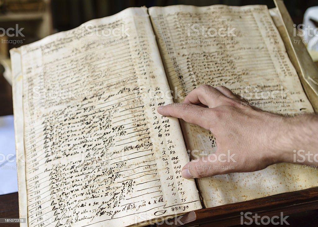 Ancient manuscript: congregation budget royalty-free stock photo