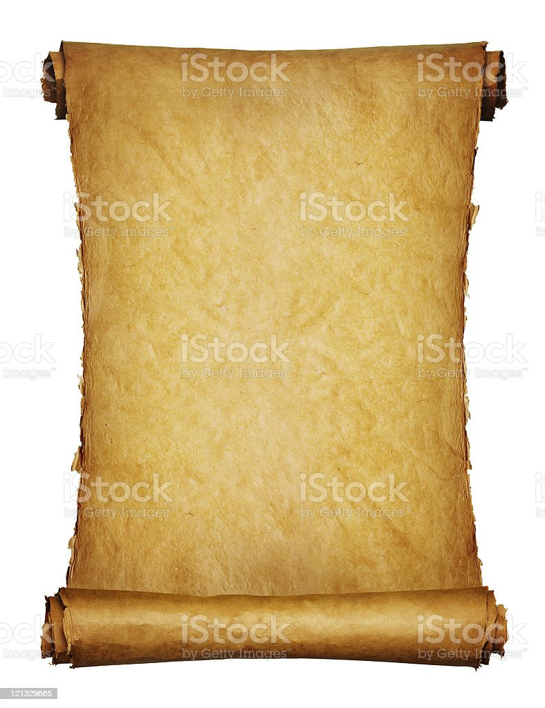 Ancient manuscript isolated over a white background royalty-free stock photo