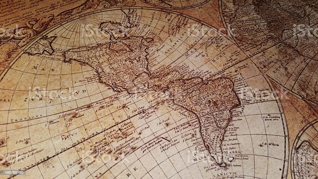 Ancient Map Flat Globe Beginning The Equator stock photo