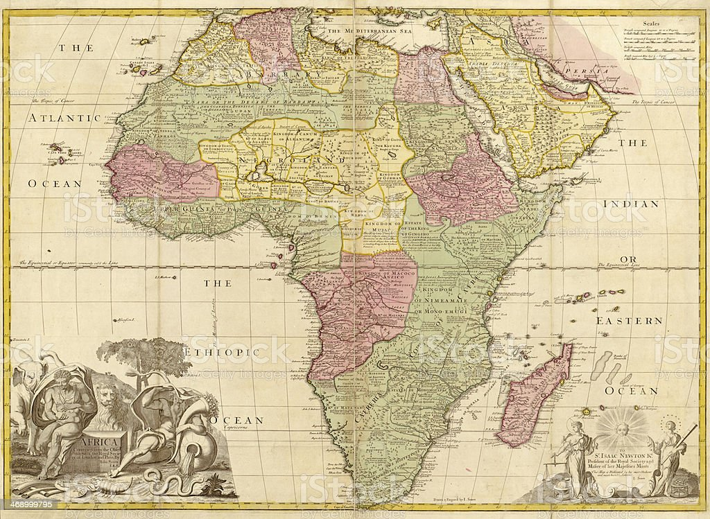 Ancient map of Africa stock photo