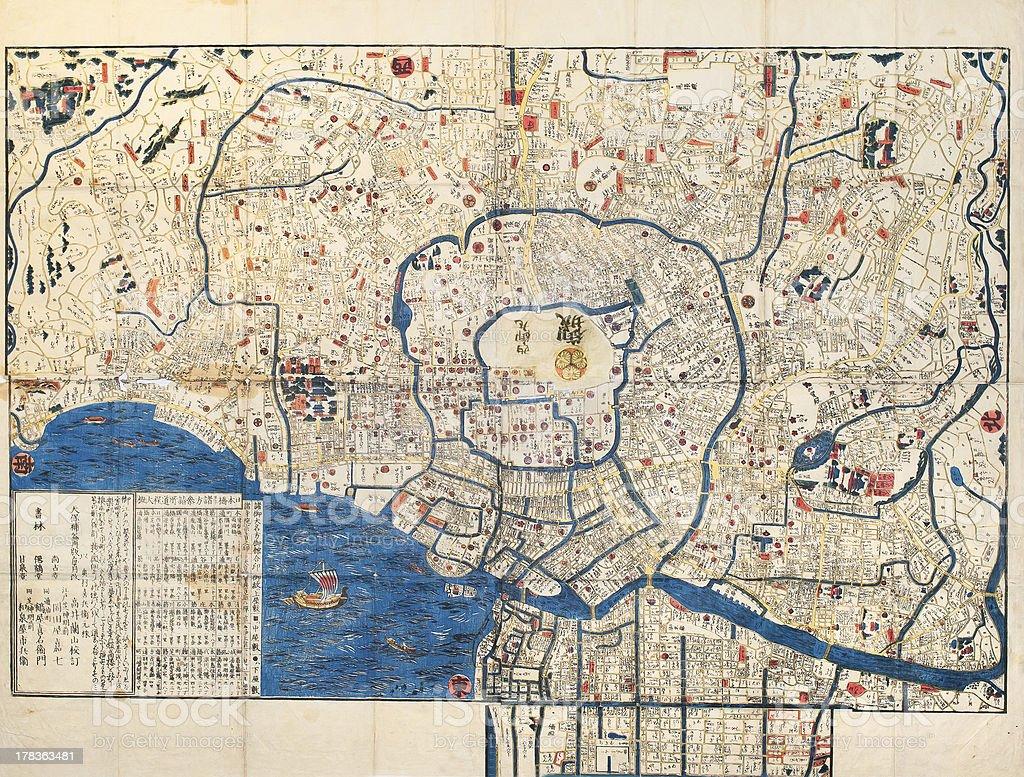 Ancient map of old japanese capital Edo Tokyo stock photo