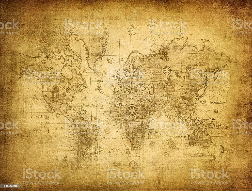 ancient map of the world royalty-free stock photo