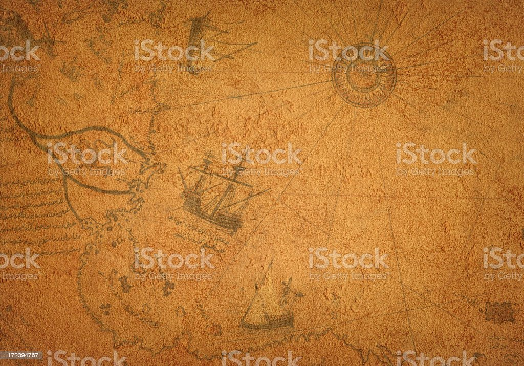 Ancient Map on Leather royalty-free stock photo