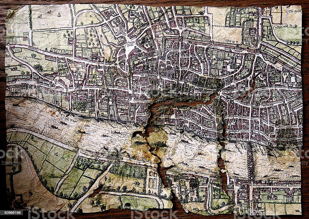 Ancient map showing the city of London and River Thames stock photo