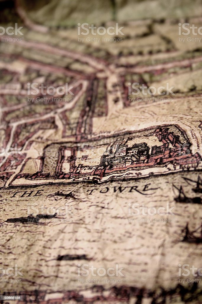 Ancient map showing the Tower of London and River Thames stock photo