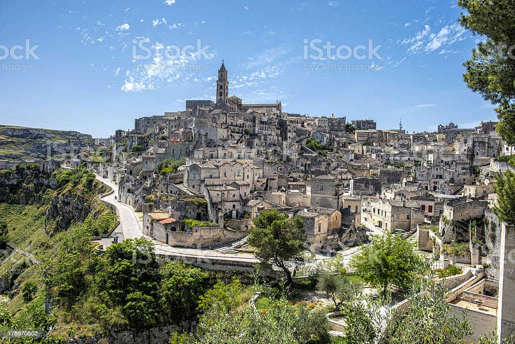 Ancient Matera Sassi under Blue Skies stock photo
