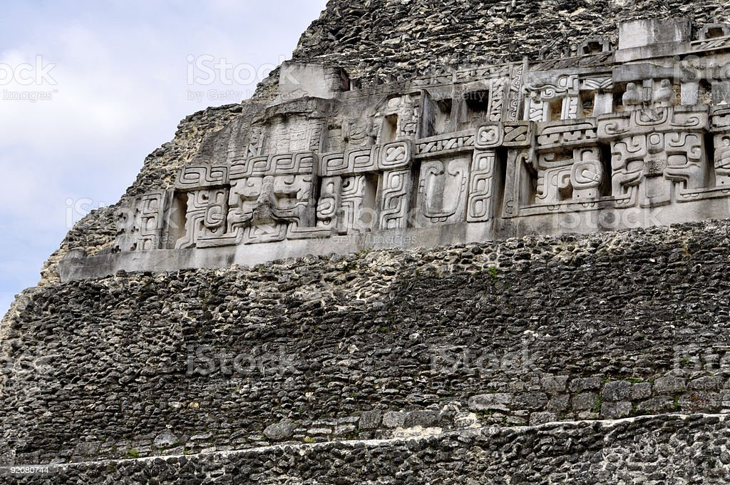 Ancient Mayan Carvings at Xunantunich in Belize royalty-free stock photo