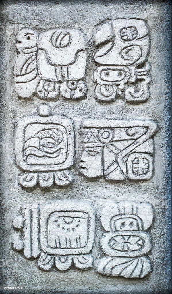 Ancient Mayan Hieroglyphs stock photo 629603250 iStock