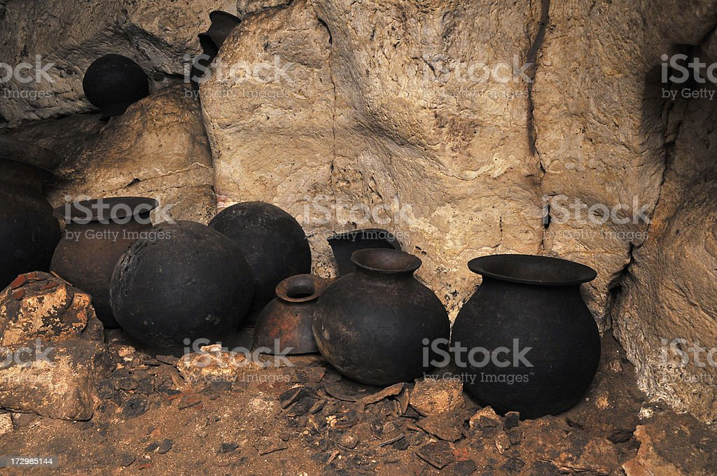 Ancient Mayan Pots in a Cave stock photo