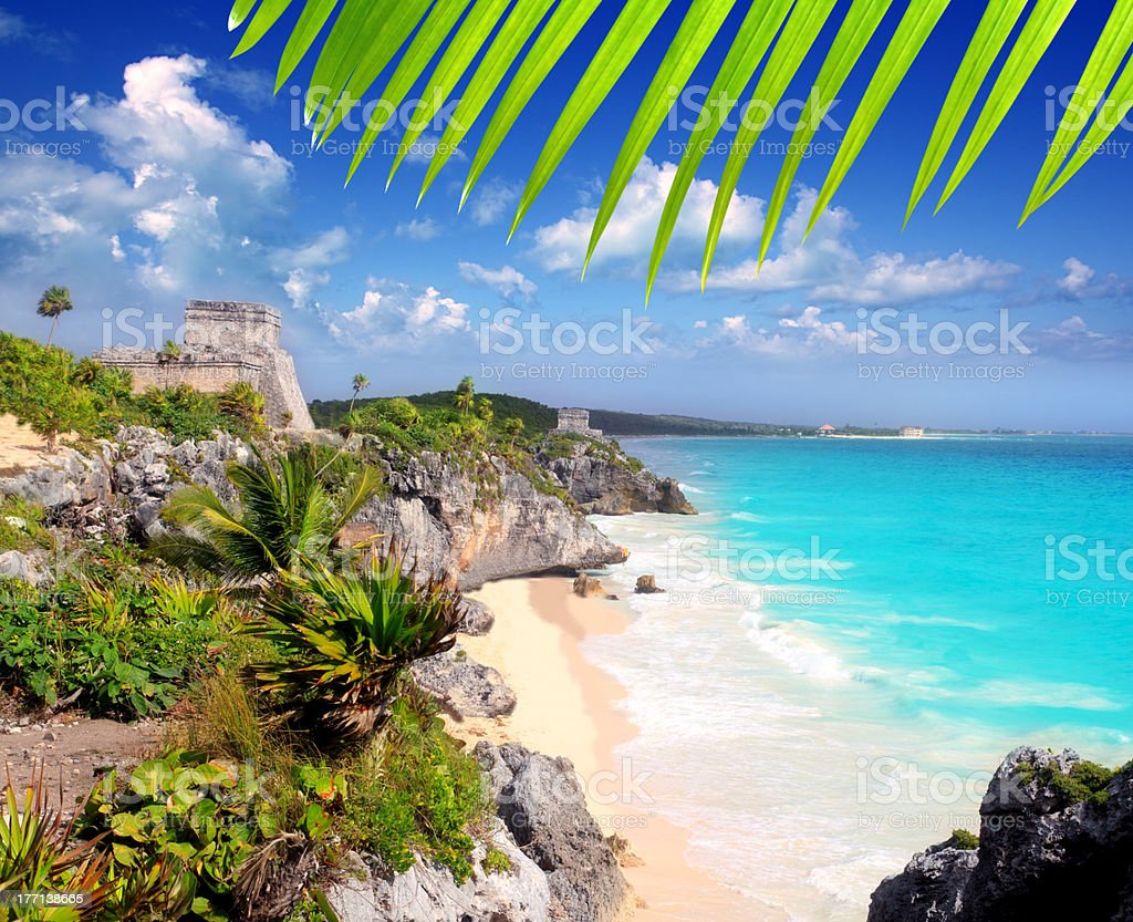 Ancient Mayan ruins in Tulum Caribbean stock photo