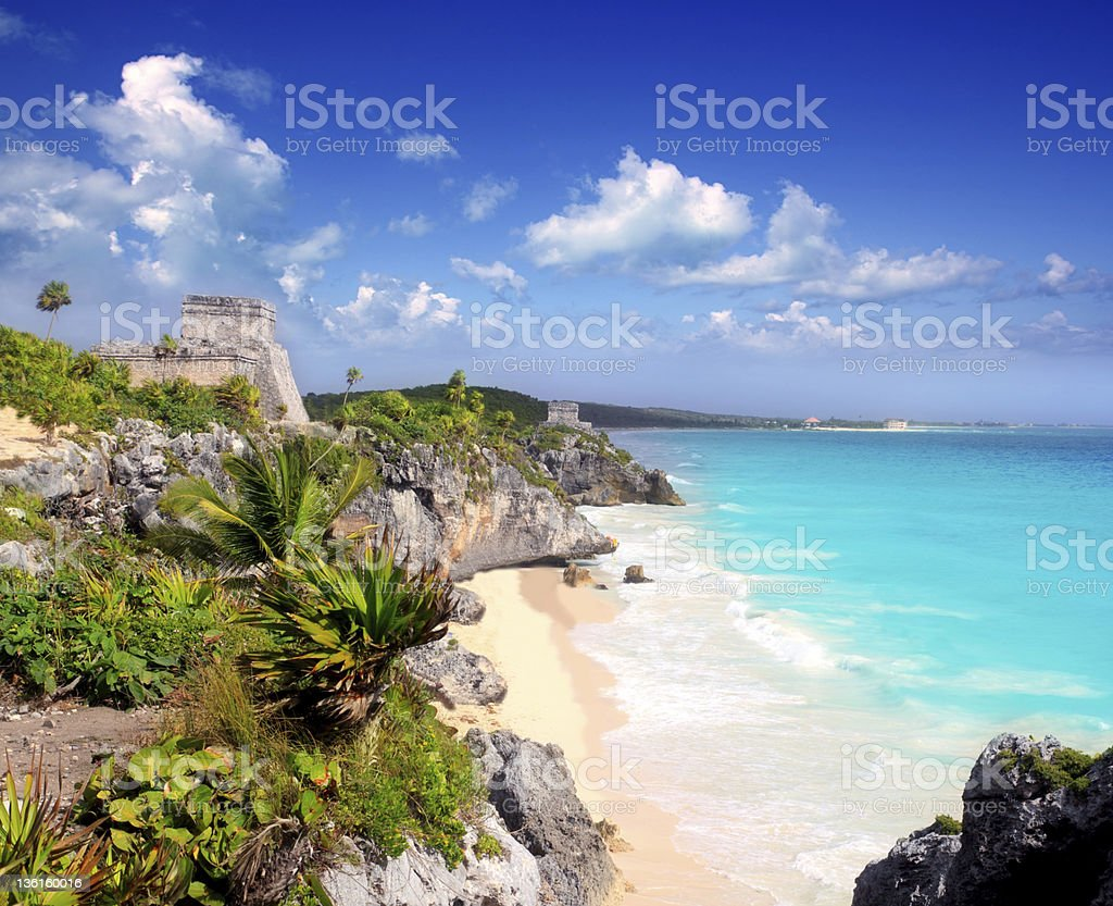 ancient Mayan ruins Tulum Caribbean turquoise royalty-free stock photo