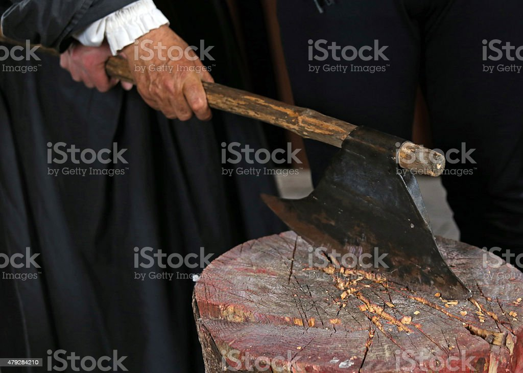 ancient medieval axe of the executioner stock photo
