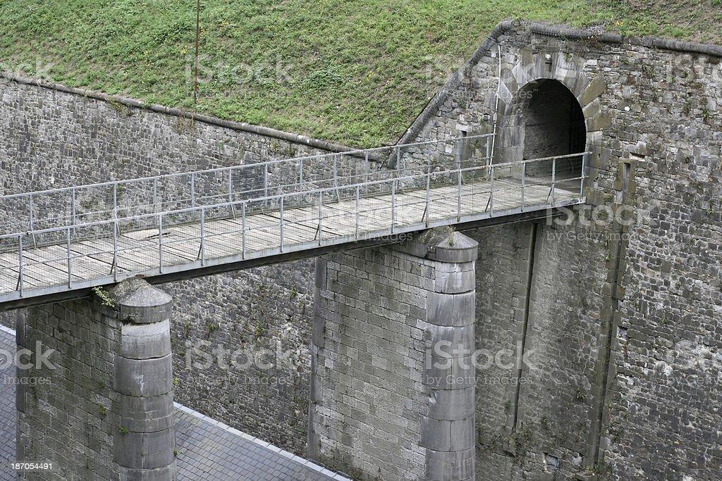 Ancient Medieval Bridge and Tunnel in Namur Wallonia Belgium stock photo