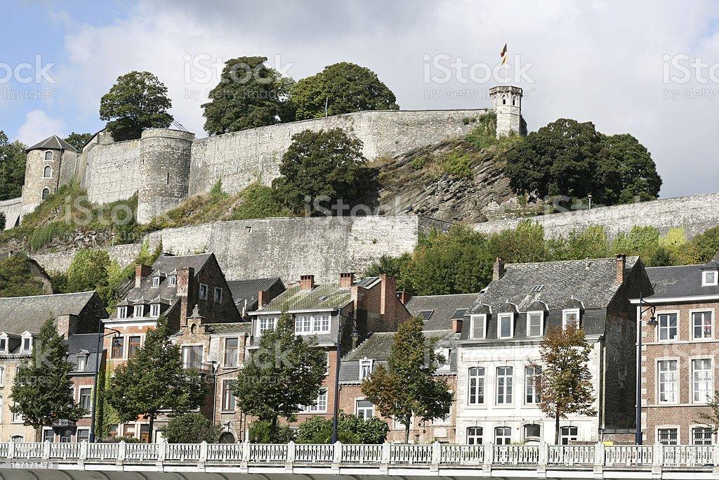 Ancient medieval castle brick wall in Namur Wallonia Belgium stock photo