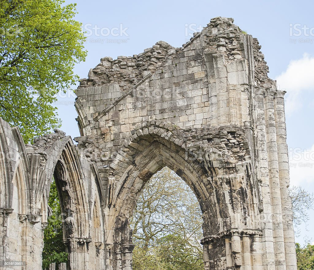 Ancient medieval church ruins in english city royalty-free stock photo
