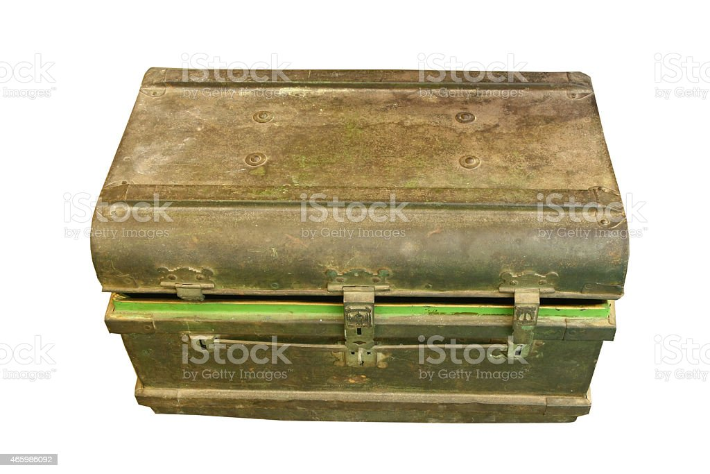 ancient metal box ,treasure Chest stock photo