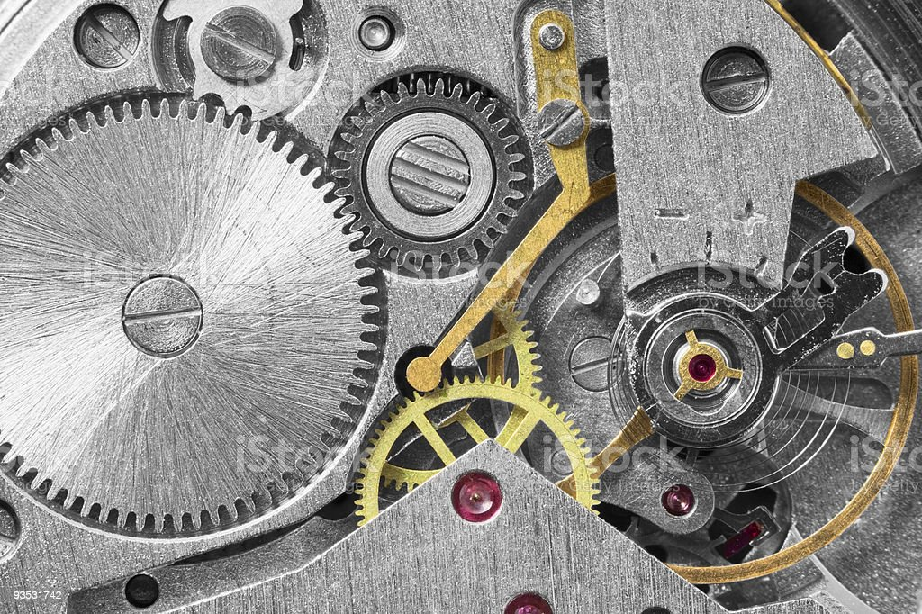 Ancient metal clockwork close up background royalty-free stock photo