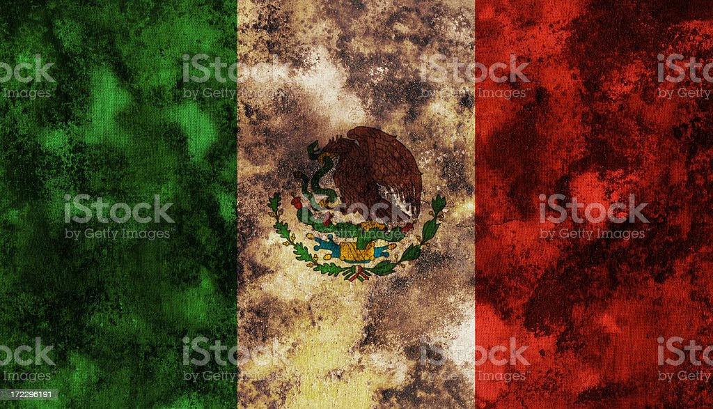 Ancient Mexican flag stock photo