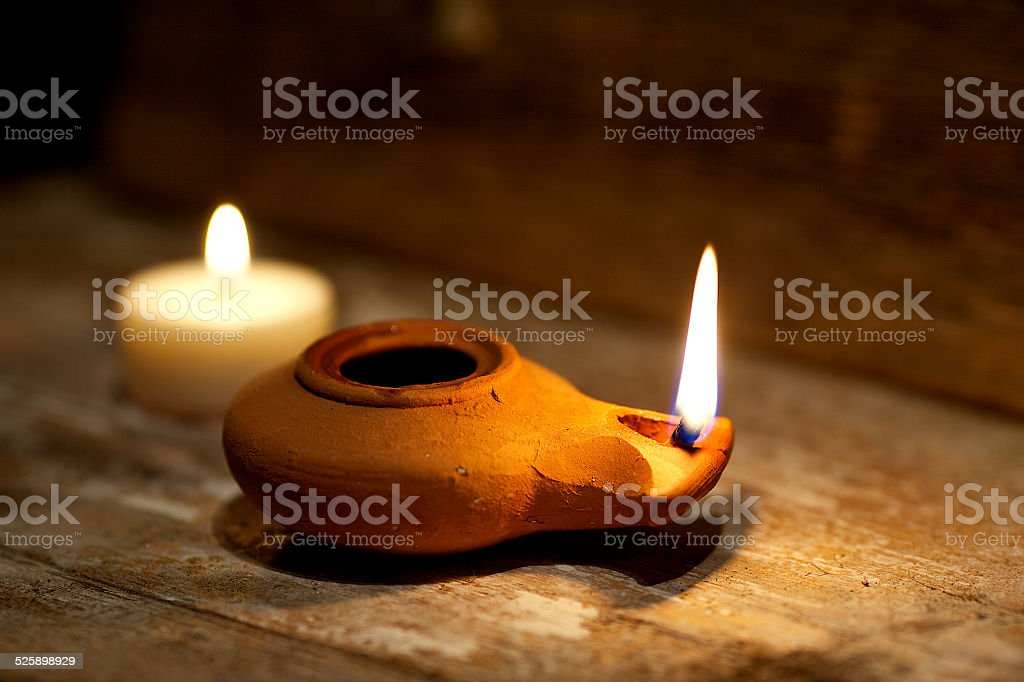 Ancient Middle Eastern oil lamp stock photo