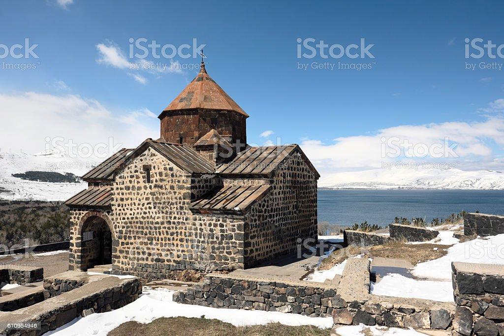 Ancient monastery Sevanavank in Armenia stock photo