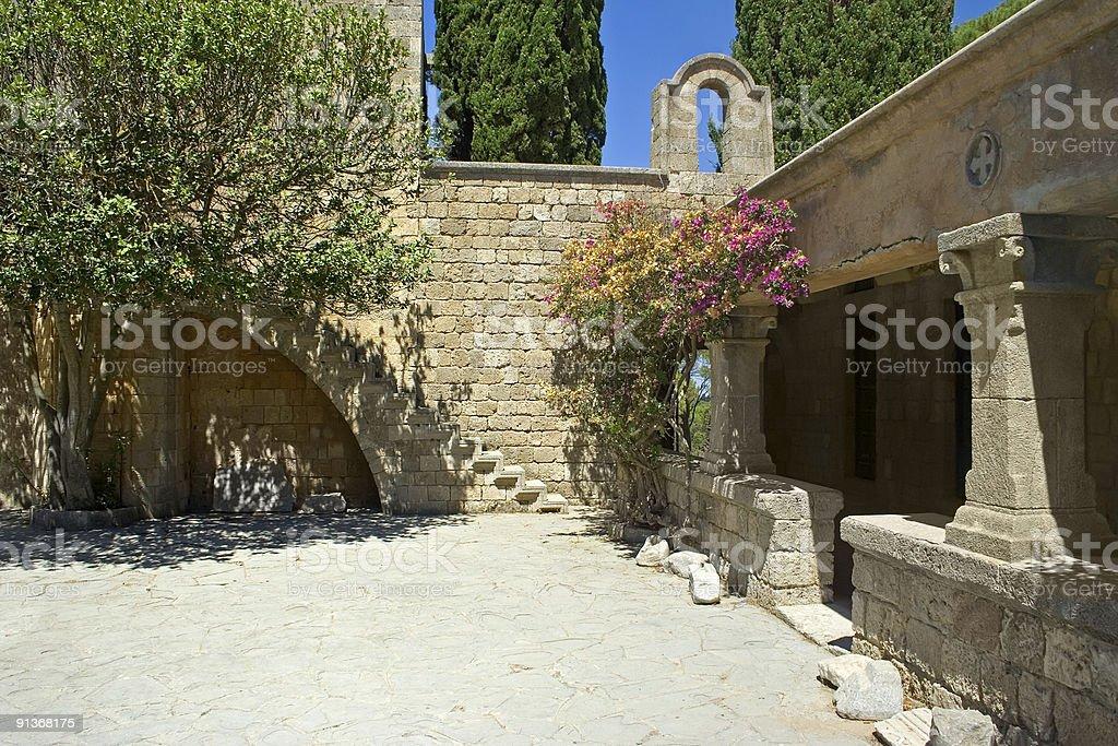 Ancient monastery's yard royalty-free stock photo