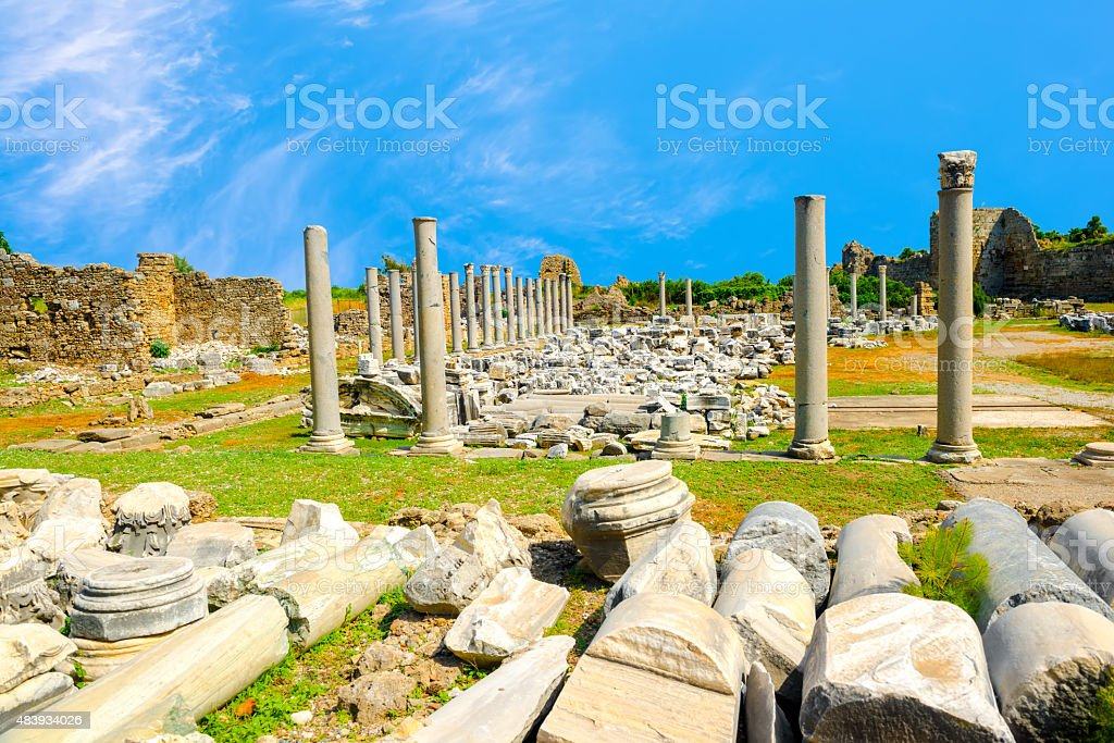 ancient monuments Tyche temple of Roman Empire, Side, Turkey , stock photo