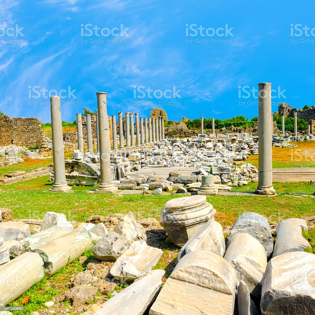 ancient monuments Tyche temple of Roman Empire, Side, Turkey stock photo