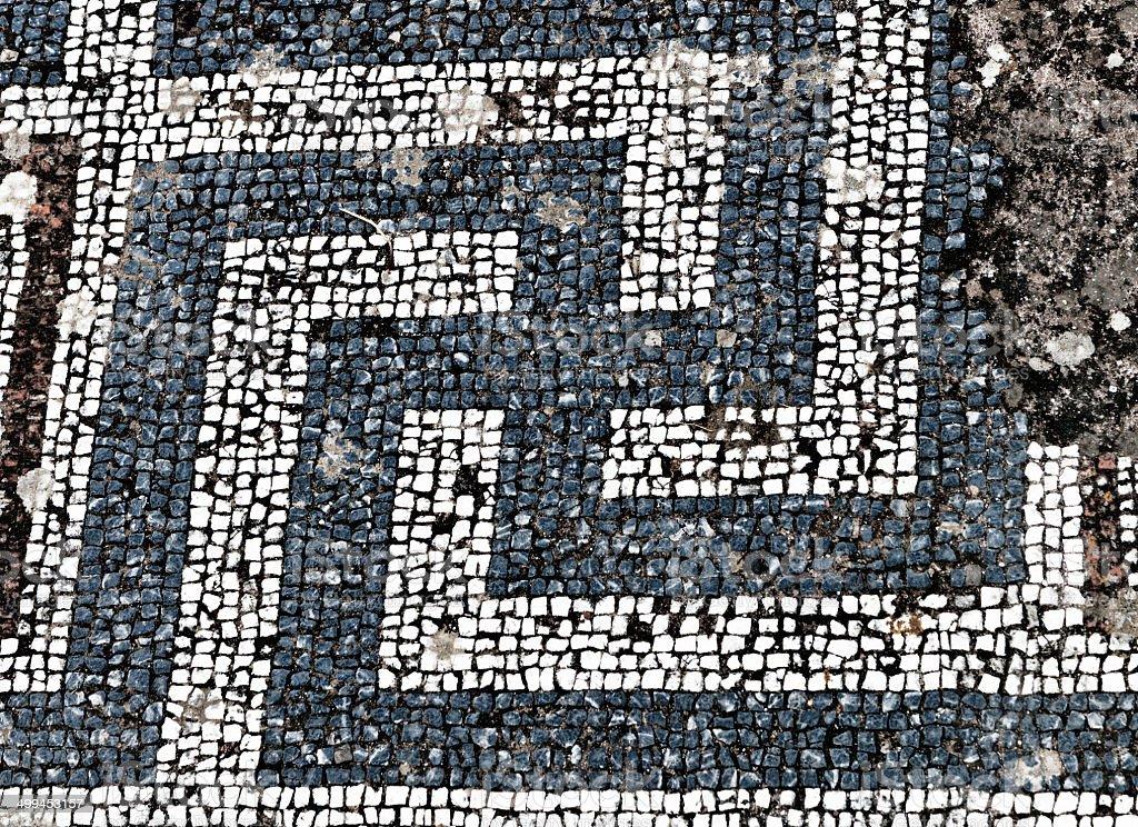 Ancient mosaic from Kos island, Greece stock photo