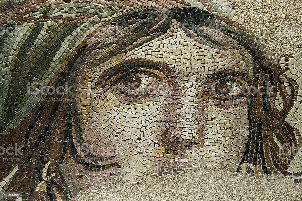 THE GYPSY GIRL (GAIA) Ancient Mosaic stock photo
