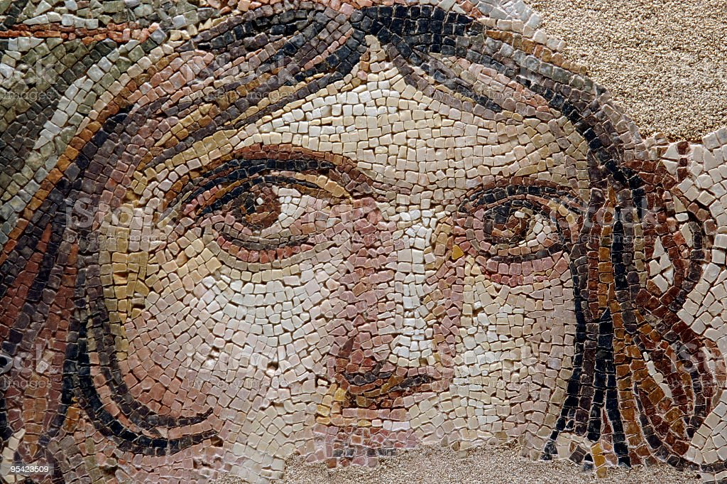 THE GYPSY GIRL (GAIA) Ancient Mosaic royalty-free stock photo