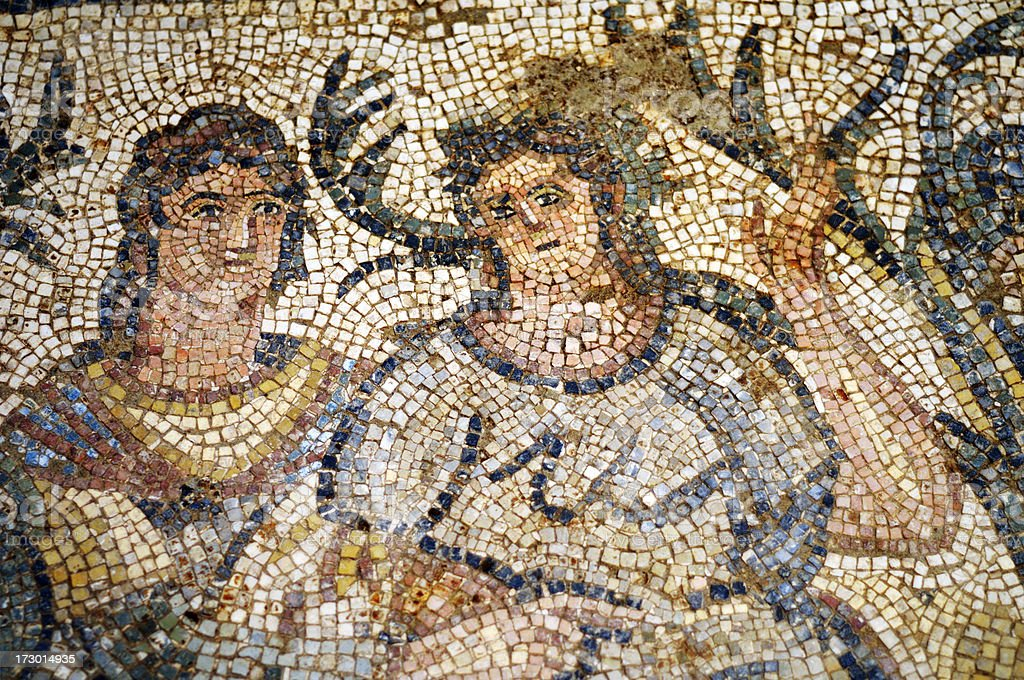 Ancient Mosaic, Tire, Izmir, Turkey royalty-free stock photo
