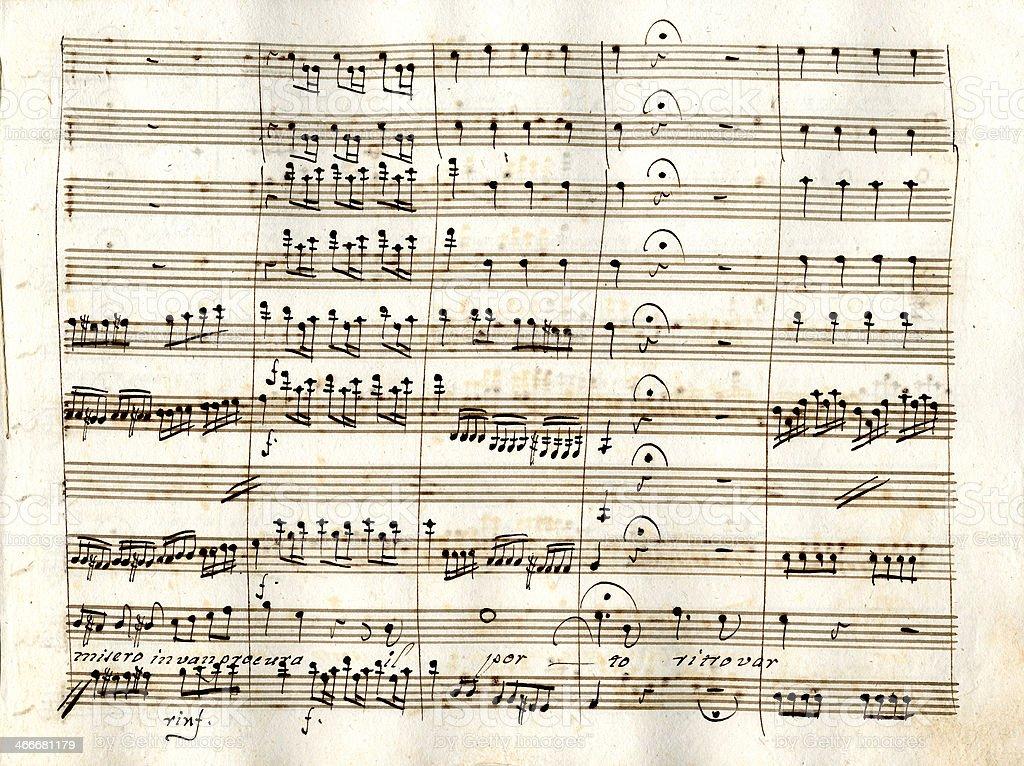 Ancient musical manuscript royalty-free stock photo