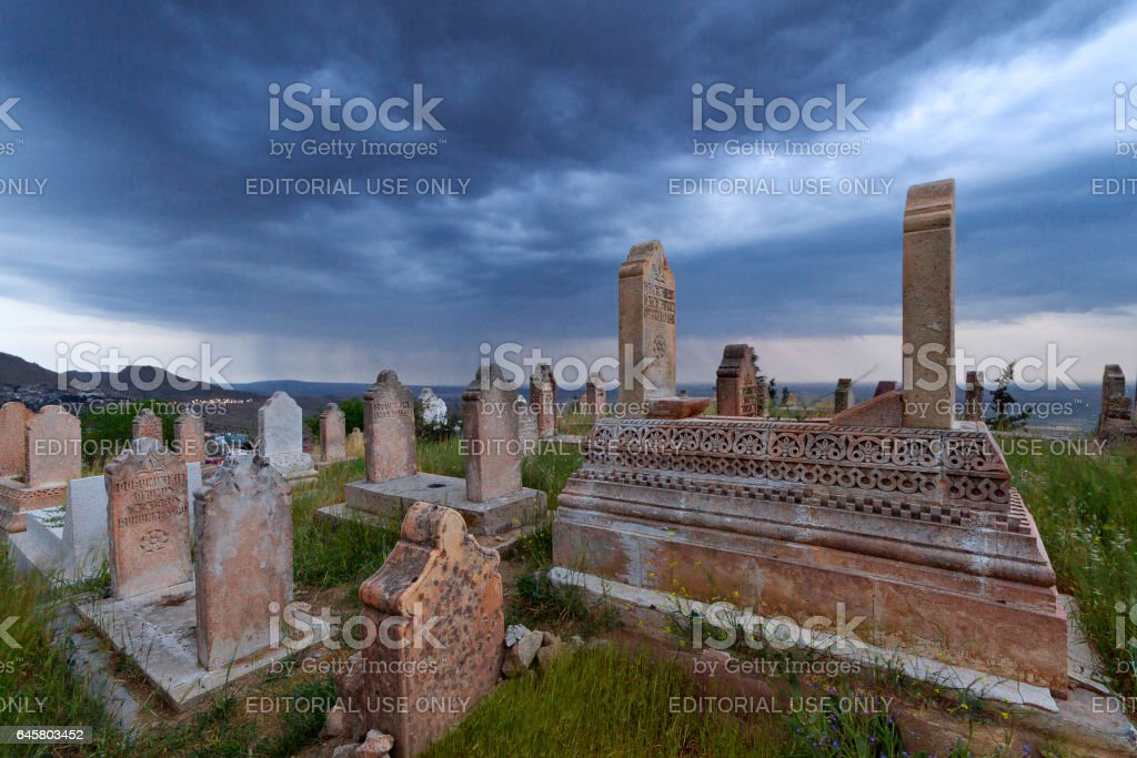 MARDIN, TURKEY - MAY 13, 2014: Ancient muslim cemetery in Mardin, Turkey. stock photo