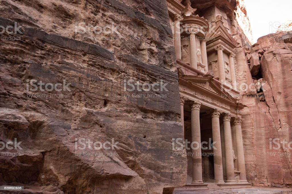 Ancient nabataean temple Al Khazneh (Treasury) located at Petra, Jordan stock photo
