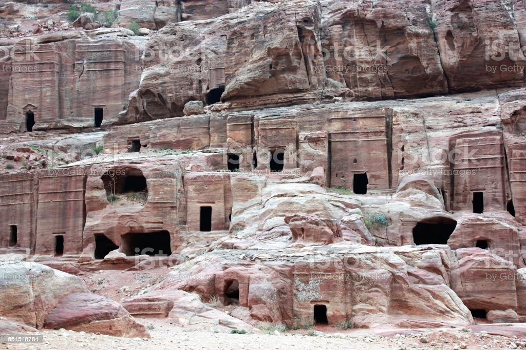 Ancient nabatean city of Petra facade street and tombs, Jordan Middle East stock photo