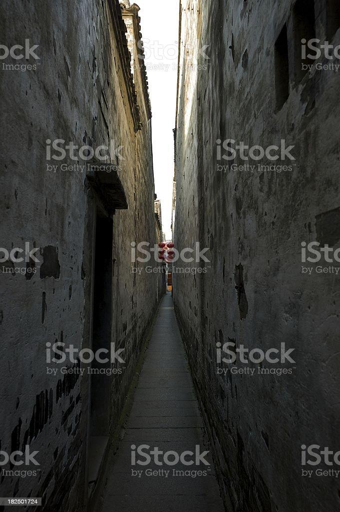 Ancient Narrow Passage in Village of Xitang, China stock photo