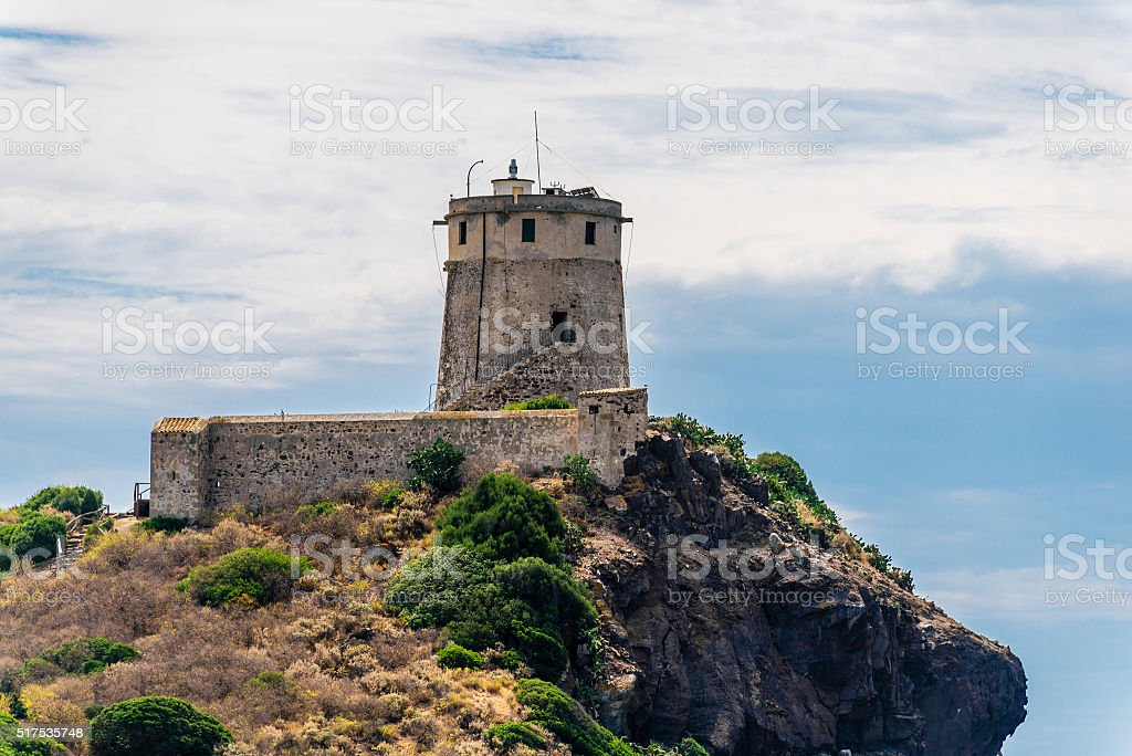 Ancient Nora Tower in Sardegna stock photo