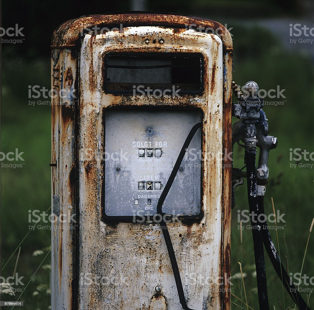 Ancient Norwegian Gas Pump stock photo
