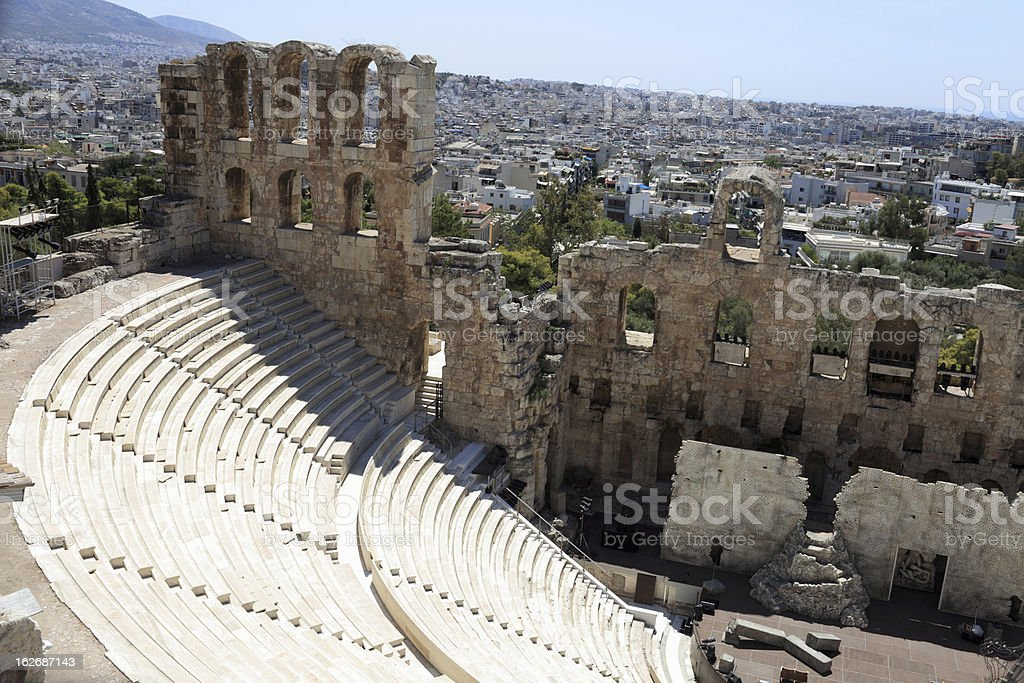 Ancient Odeon of Herodes Atticus stock photo