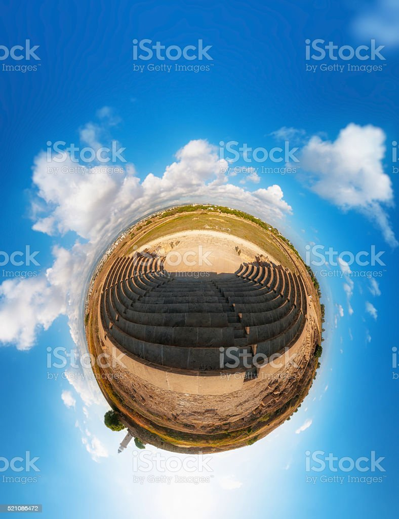 Ancient Odeon. Paphos District. Cyprus. Little planet stock photo