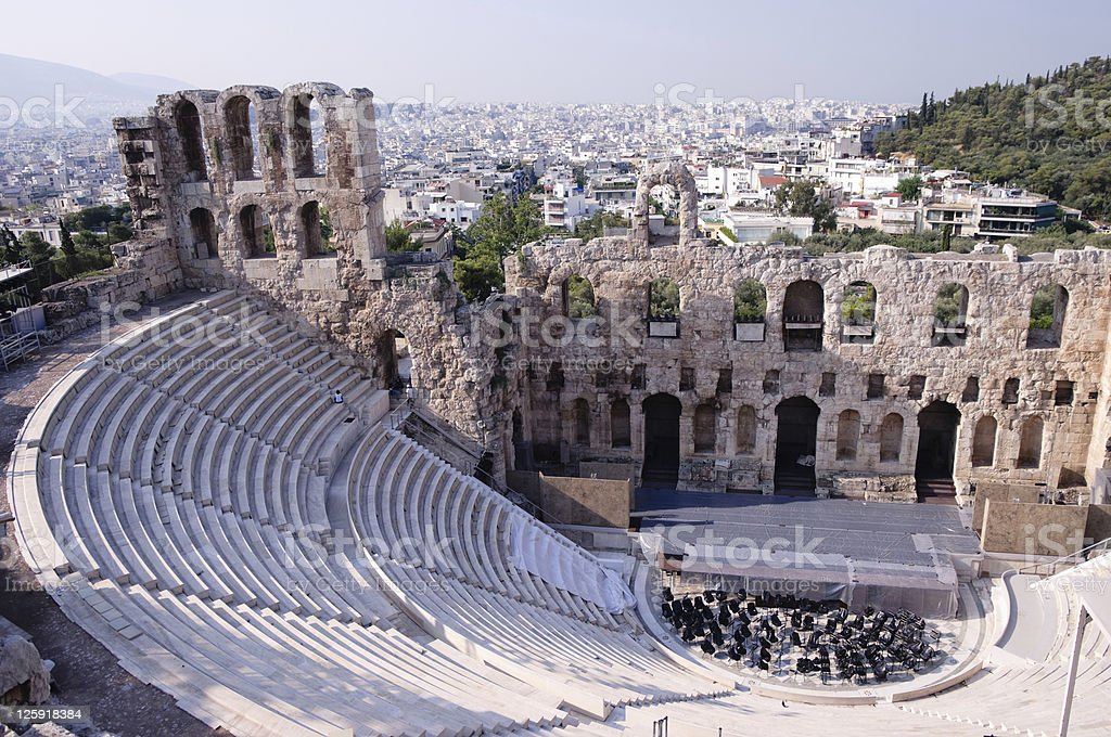 Ancient Odeum of Acropolis stock photo