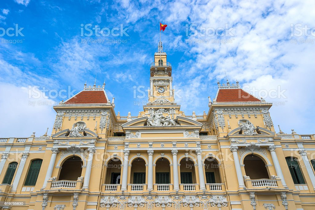 Ancient of People's Committee Building in Sai Gon stock photo