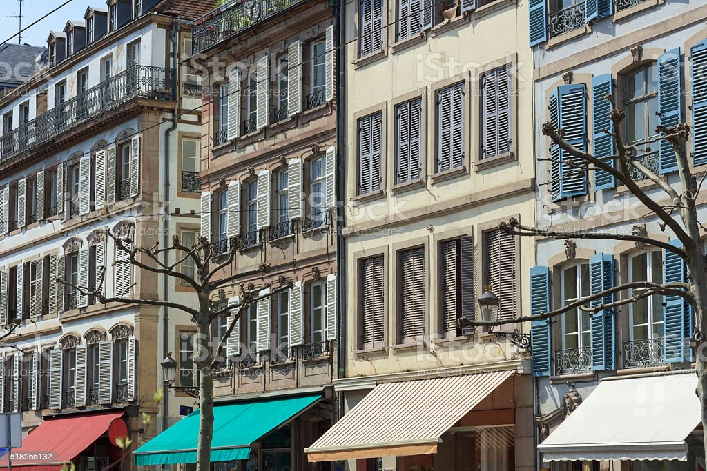 Ancient old houses at the Place Broglie in Strasbourg, Alsace stock photo