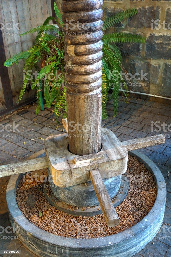 Ancient Olive Press. Israel stock photo
